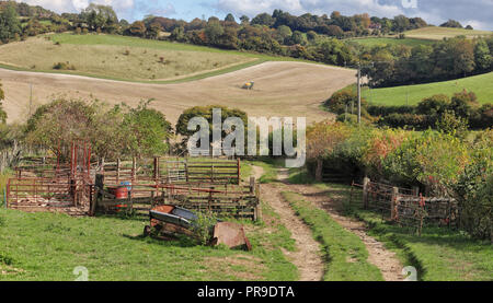 English Landscape in the Hambleden Valley in the Chiltern Hills with track passing sheep pens - Stock Photo