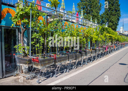 Supermaket trollies being used as plant pots along the Danube in Vienna Austria. - Stock Photo