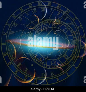 Astronomical Clock. Planets and Galaxies - Stock Photo