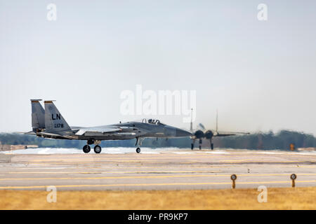 McDonnell Douglas F-15C Eagle's taxiing at on July 16th 2018 at RAF Lakenheath, Suffolk, UK - Stock Photo