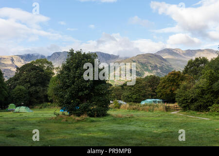 Camping in Great Langdale with view of The Band and Bowfell, Lake District, Cumbria, England.