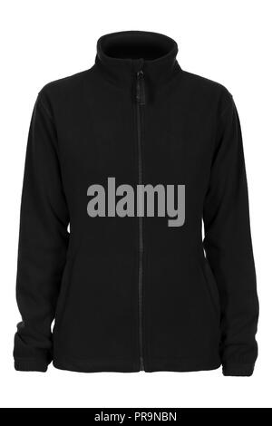 Black sweatshirt fleece for woman isolated on white background - Stock Photo