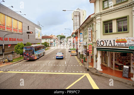 Singapore, Singapore- August 09, 2018:  Jalan Besar Rd. On the street pedestrians and cars - Stock Photo