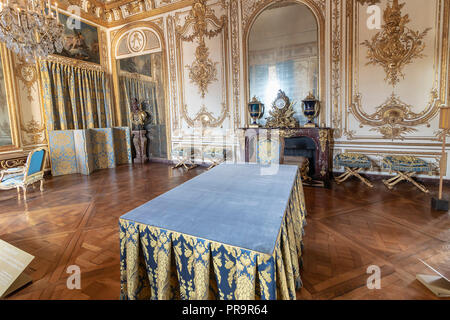 Versailles, France - March 14, 2018: The Council Study inside of the Royal Palace of Versailles in France - Stock Photo