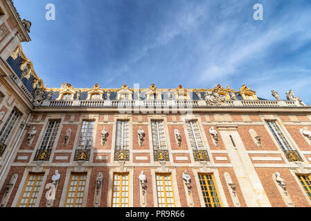 Versailles, France - March 14, 2018: View of Palace from the courtyard inside the Royal Palace of Versailles in France - Stock Photo