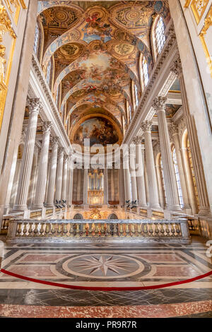Versailles, France - March 14, 2018: Upper side of the chapel at the Royal Palace of Versailles in France - Stock Photo