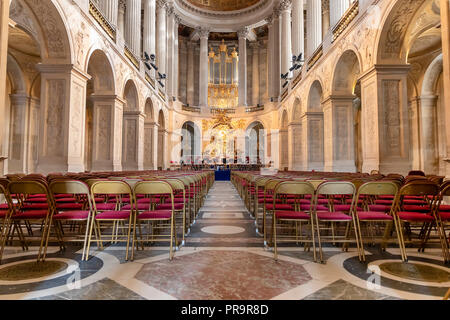 Versailles, France - March 14, 2018: Chapel inside of the Royal Palace of Versailles in France - Stock Photo