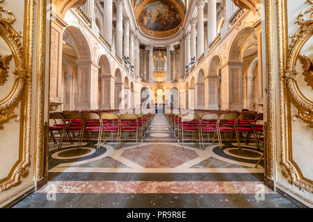 Versailles, France - March 14, 2018: Chapel inside the Royal Palace of Versailles in France - Stock Photo