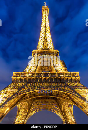 Paris, France - March 13, 2018: View of Eiffel tower at night - Stock Photo