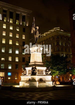 Monument in memory of Paul de Chomedey, founder of Montreal, Place d'Armes - Stock Photo