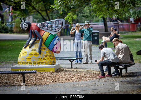 A Manchester bee in Sackville Gardens in Manchester's gay village, - Stock Photo