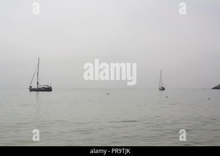 Sailboats in the sea on foggy day - Stock Photo