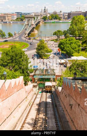 Castle Hill Funicular, Szechenyi Chain Bridge and Pest on the background. Budapest, Hungary. - Stock Photo