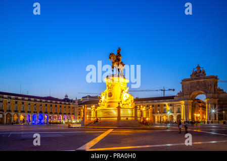night view of Commerce Square in lisbon, portugal - Stock Photo