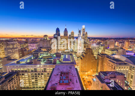 Philadelphia, Pennsylvania, USA downtown city skyline from above at twilight. Stock Photo