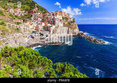 Manarola village Cinque Terre National Park, Liguria Italy. - Stock Photo