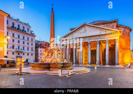 Rome, Italy. Pantheon temple, Rotonda square and Fountain at twilight. - Stock Photo