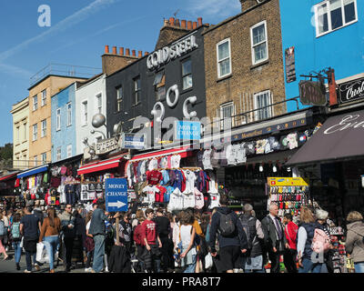 View of tourists and shoppers crowding busy Camden High Street in London UK Stock Photo