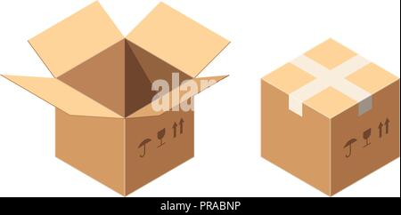 8ae5bc29ac3 Isometric Vector Packaging Carton or Cardboard Boxes Icon Set with Postal  Signs - This Side Up