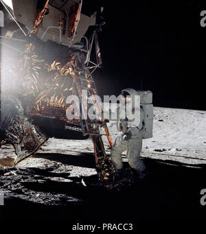 Astronaut Alan L. Bean, lunar module pilot for the Apollo 12 lunar landing mission, steps from the ladder of the Lunar Module to join astronaut Charles Conrad Jr., commander, in extravehicular activity on Nov. 19, 1969. - Stock Photo
