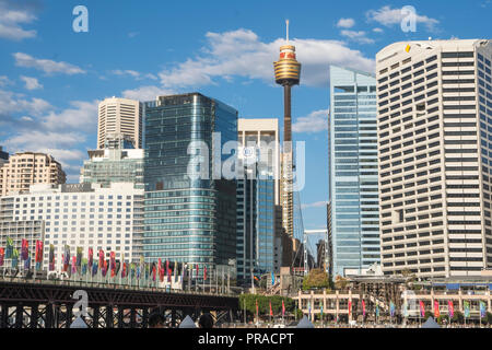 Darling Harbour in Sydney with the Sydney skyscrappers and Sydney Tower in the background. - Stock Photo