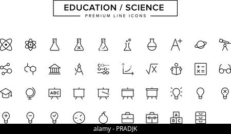 Education Science line icon set - Stock Photo