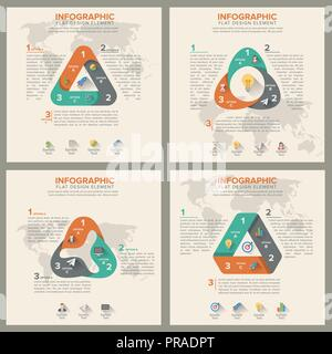 triangle shape infographic set template. flat design style - Stock Photo