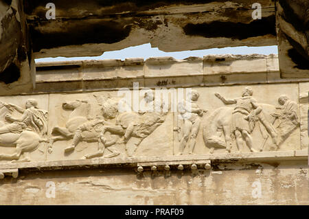 Greece. Athens. Acropolis. Parthenon. Classical temple dedicated to Athena. 447 BC-432 BC. Doric order. Architects: Iktinos and Callicrates. Frieze. High-reliefs under direction of Phidias. Cavalcade. Replica. - Stock Photo