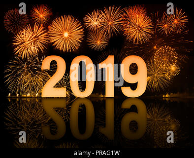 2019 happy new year fireworks with old clock face - Stock Photo
