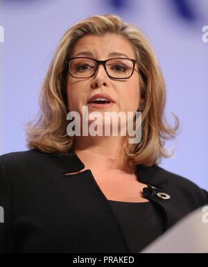 Birmingham, UK. 30th Sep, 2018. PENNY MOURDANT MP  SECRETARY OF STATE FOR INTERNATIONAL DEVELOPMENT  CONSERVATIVE PARTY CONFERENCE 2018  THE ICC, BIRMINGHAM, , ENGLAND  30 September 2018  DIE18519     ADDRESSES THE CONSERVATIVE PARTY CONFERENCE 2018 AT THE ICC, BIRMINGHAM, ENGLAND Credit: Allstar Picture Library/Alamy Live News - Stock Photo