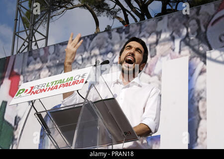Rome, Italy. 30th Sep, 2018. ROME, ITALY - SEPTEMBER 30: Maurizio Martina, Secretary of the Democratic Party (PD), Italian centre-left political party, speaks during a demonstration against the current government policies on September 30, 2018 in Rome, Italy. Credit: Danilo Balducci/ZUMA Wire/Alamy Live News - Stock Photo