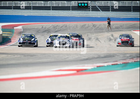 September 30, 2018: Start of the finals at the World Rallycross Championship, Circuit of the Americas. Austin, Texas. Mario Cantu/CSM - Stock Photo
