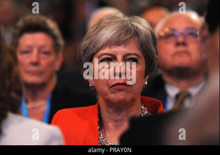 Birmingham, England. 30th September, 2018.  Theresa May MP, Prime Minister and Leader of the Conservative Party, listening to opening speeches to conference on the first session of the first day of the Conservative Party annual conference at the ICC.  Kevin Hayes/Alamy Live News - Stock Photo