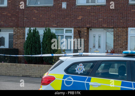 Sunderland Home Sealed off by Police - People reported hearing a loud bang on what is now suspected as gun shots in the street (Fordfield Road, Sunderland) and armed offices attended the incident last night (30 September at around midnight) .  Specialist officers are at the scene as enquiries continue with several houses cordoned off following the incident. - Stock Photo