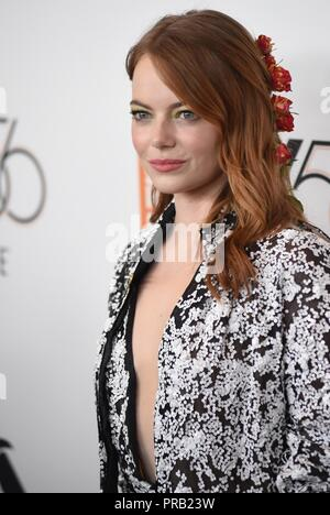 Emma Stone at arrivals for THE FAVOURITE Premiere at the New York Film Festival Opening Night, Alice Tully Hall at Lincoln Center, New York, NY September 28, 2018. Photo By: Kristin Callahan/Everett Collection - Stock Photo