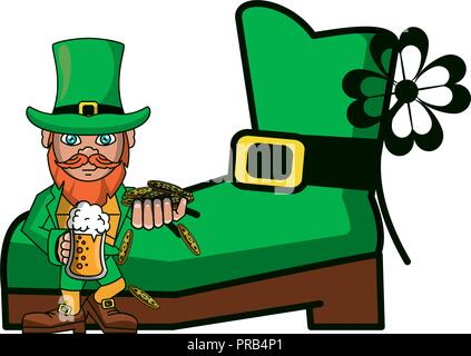 Irish elf with beer and coins - Stock Photo