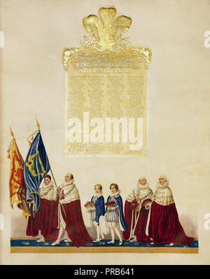 John Whittaker, Ceremonial of the Coronation of King George IV 1823 Printed on japan vellum, Royal Collection of the United Kingdom. - Stock Photo