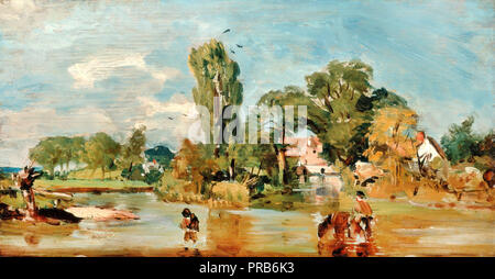 John Constable, Flatford Mill, Circa 1820 Oil on panel, Yale Center for British Art, New Haven, USA. - Stock Photo