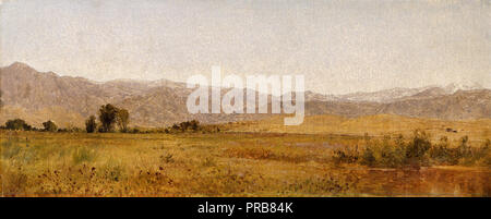John Frederick Kensett, Snowy Range and Foothills from the Valley of Valmo 1870 Oil on canvas, Denver Art Museum, USA. - Stock Photo