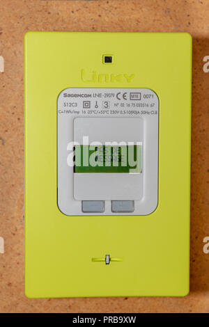 Paris, France - September  30, 2018 : New smart electric meter Linky from ERDF (Electricity Network Distribution France) - Stock Photo