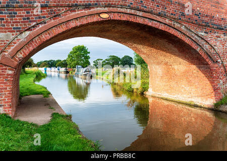 The Shropshire Union Canal at Waverton in Cheshire - Stock Photo