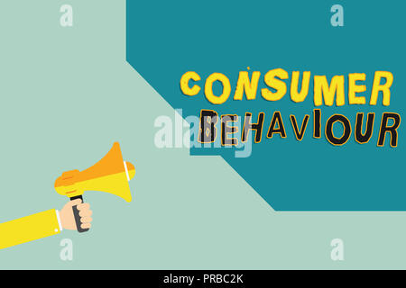 Text sign showing Consumer Behaviour. Conceptual photo Decisions that people make to buy or not to buy a product. - Stock Photo