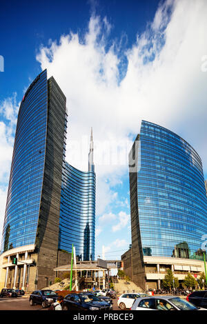 Europe, Italy, Lombardy, Milan, Gae Aulenti square in Puorta Nuova business and commercial district, Unicredit Tower - Stock Photo