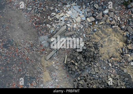 Above view on the rubble, background. - Stock Photo