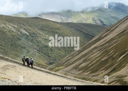 Trekkers at Nyile La pass, Thimphu District, Snowman Trek, Bhutan - Stock Photo