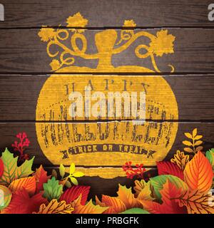 Happy Halloween banner illustration with autumn leaves and typography lettering in pumpkin on vintage wood background. Vector Holiday design template with typography lettering and cemetery for greeting card, flyer, celebration poster or party invitation. - Stock Photo