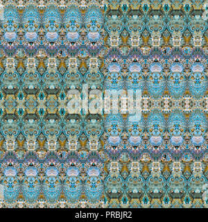 Digital collage technique luxury ornate seamless pattern design in multicolored tones - Stock Photo