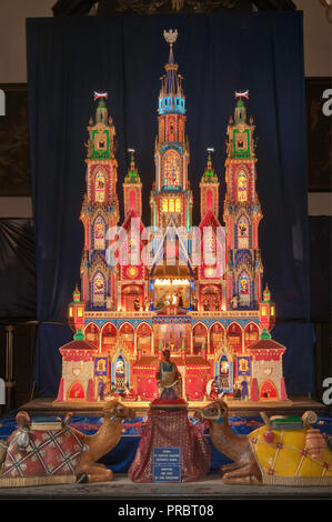 Szopka or Christmas Nativity scene, 5 meters tall, displayed in Christmas season at Franciscan Church,  Krakow, Poland - Stock Photo