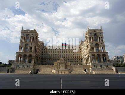 The Government House in Baku with waving Azerbaijani Flag. - Stock Photo