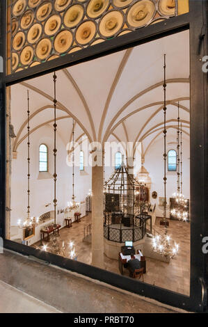 Interior of Old Synagogue, view from balcony, women's praying area, Jewish Quarter at Kazimierz district, Krakow, Poland - Stock Photo